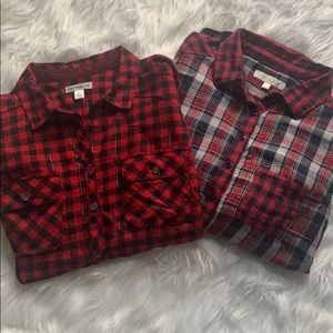 2 flannel Lg Button down shirts red plaids, nice!